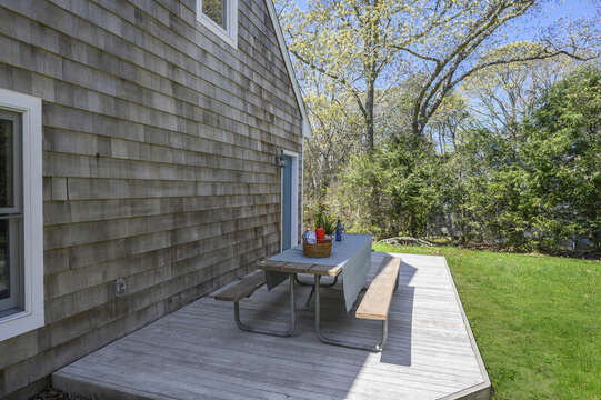 Separate deck for apartment over garage picnic table with seating for 8-875 Great Pond-Eastham- Cape Cod- New England Vacation Rentals