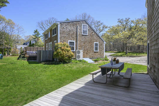 Back yard view from garage apartment -875 Great Pond-Eastham- Cape Cod- New England Vacation Rentals