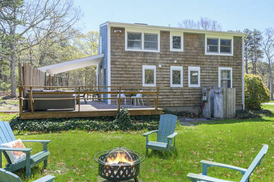 Large back yard and fire pit-875 Great Pond-Eastham- Cape Cod- New England Vacation Rentals