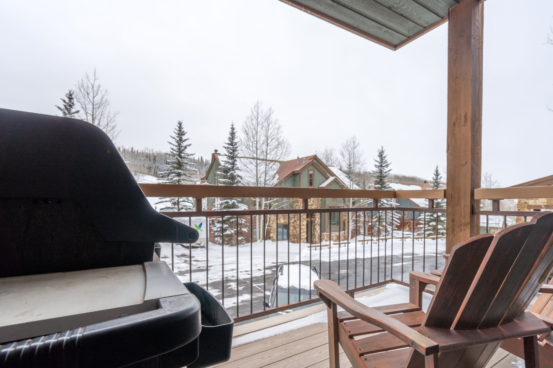 Wood patio with snow view