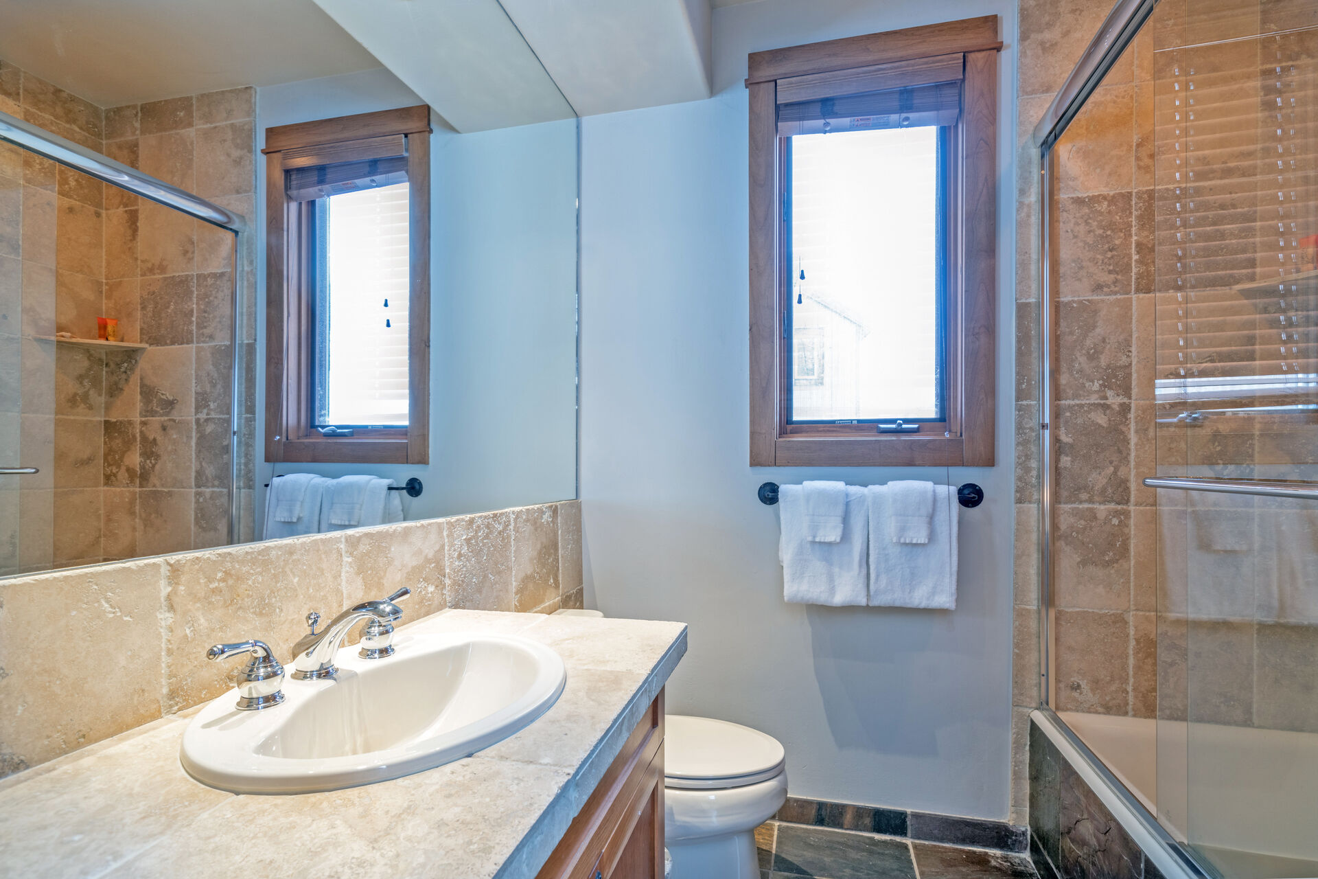 Bathroom with extra large mirror