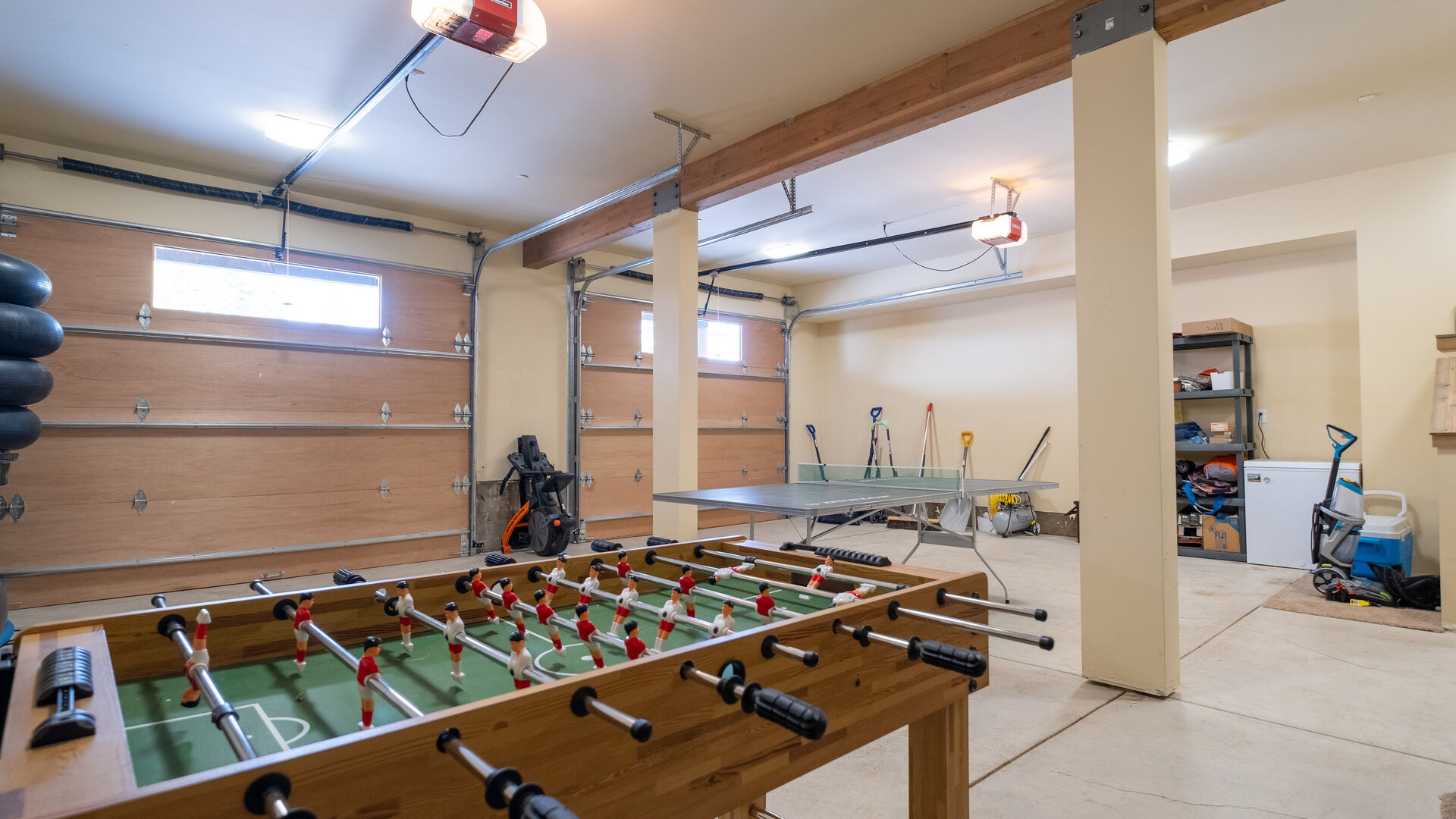 Garage with Ping Pong and Foosball