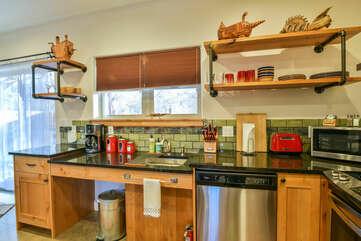Kitchen Sink, Dishwasher, Shelves, and Microwave.