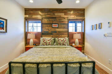 Large Bed, Nightstands, and Table Lamps.