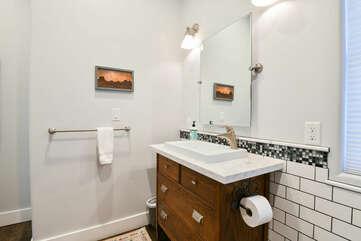 Single Bathroom Vanity Set, Mirror, and Lamp.