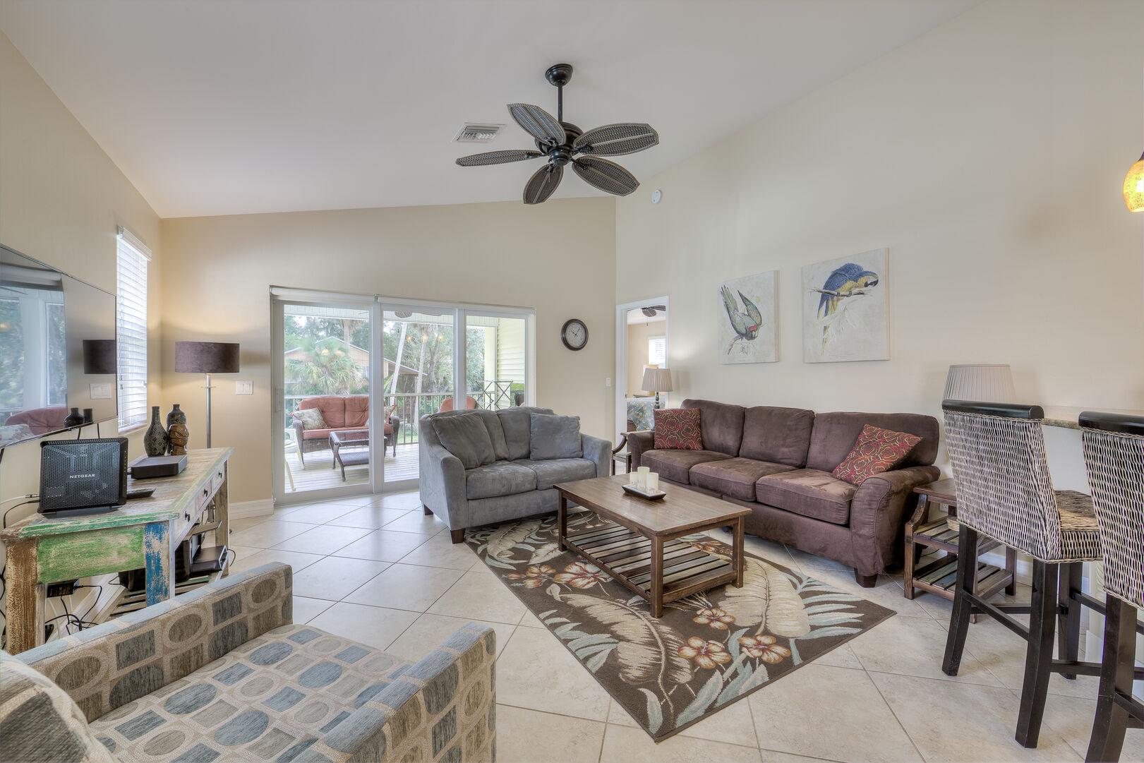 spacious living room area