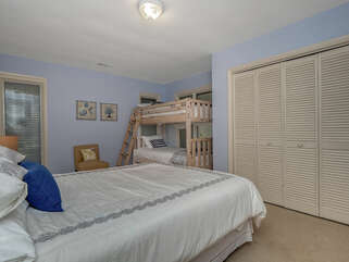 The 2nd en-suite bedroom has a queen bed and set of twin bunks. Perfect for the family.