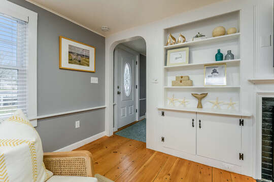 Looking at entry way and upstairs access from the livingi room-75 Pinewood Rd Hyannis Cape Cod- New England Vacation Rentals