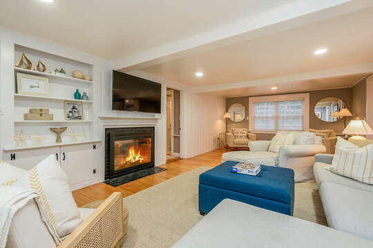 Living room with ample seating and flat screen tv-75 Pinewood Rd Hyannis Cape Cod- New England Vacation Rentals
