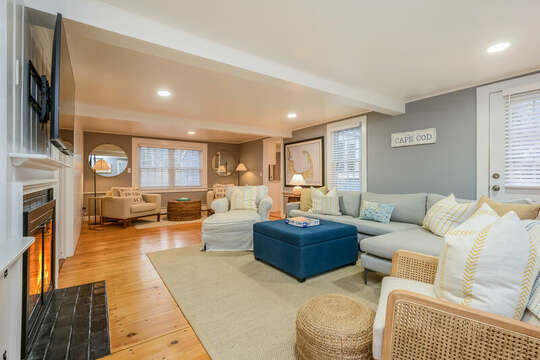 Enter into the spacious living room with flat screen tv and plenty of seating -75 Pinewood Rd Hyannis Cape Cod- New England Vacation Rentals