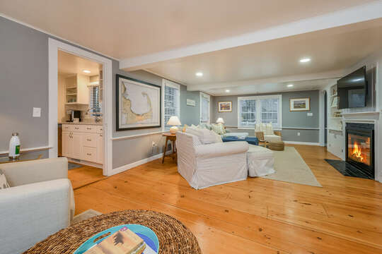 Living room looking at the entrance to the kitchen on the left- 75 Pinewood Rd Hyannis Cape Cod- New England Vacation Rentals