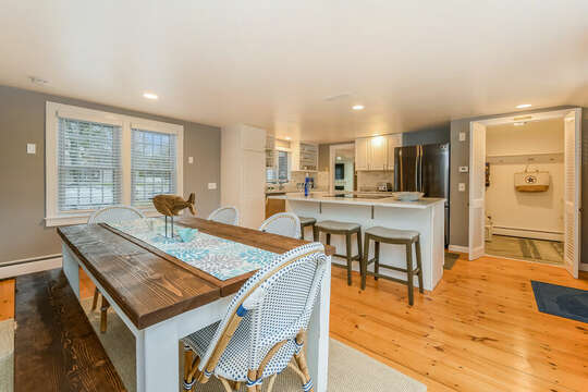 Large open kitchen with laundry room just behind the closet doors.75 Pinewood Rd Hyannis Cape Cod- New England Vacation Rentals
