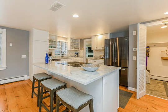 Center island with seating for 3-75 Pinewood Rd Hyannis Cape Cod- New England Vacation Rentals