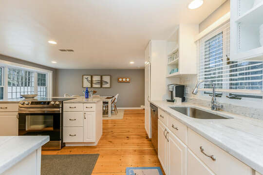 Another view of the large open kitchen/ Dining room-75 Pinewood Rd Hyannis Cape Cod- New England Vacation Rentals