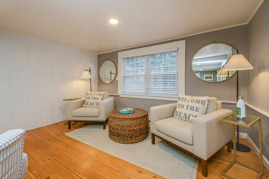 Nicely appointed sitting area great for reading that book or quiet conversation-75 Pinewood Rd Hyannis Cape Cod- New England Vacation Rentals