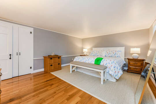 Master bedroom with King bed , dressers, closet -75 Pinewood Rd Hyannis Cape Cod- New England Vacation Rentals