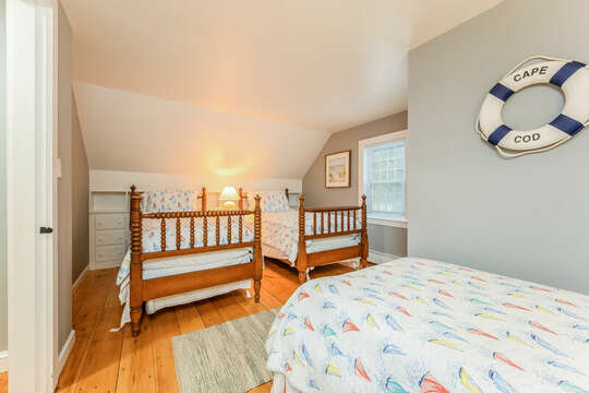 Bedroom #3 with 3 Twin beds-75 Pinewood Rd Hyannis Cape Cod- New England Vacation Rentals