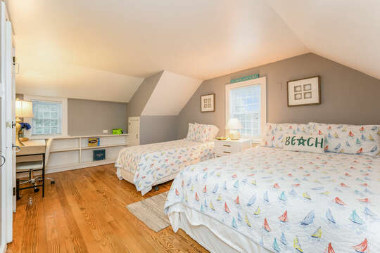 Bedroom #2- Queen and twin beds, build in shelves and desk-75 Pinewood Rd Hyannis Cape Cod- New England Vacation Rentals