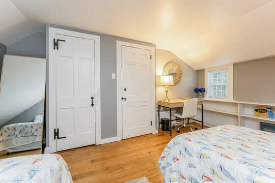 Bedroom #2 Queen and twin bed closet, desk and built in shelving-75 Pinewood Rd Hyannis Cape Cod- New England Vacation Rentals