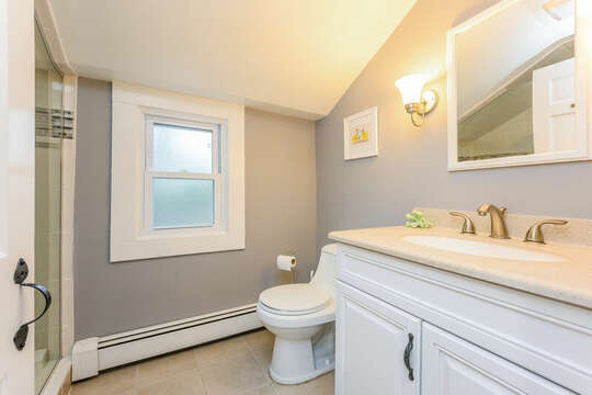 Bathroom #3 Full bath upstairs at-75 Pinewood Rd Hyannis Cape Cod- New England Vacation Rentals
