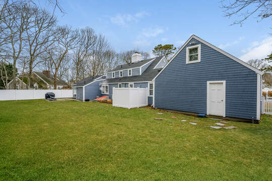 Back yard with outdoor shower -75 Pinewood Rd Hyannis Cape Cod- New England Vacation Rentals
