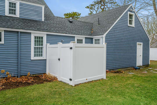 Outdoor shower at-75 Pinewood Rd Hyannis Cape Cod- New England Vacation Rentals