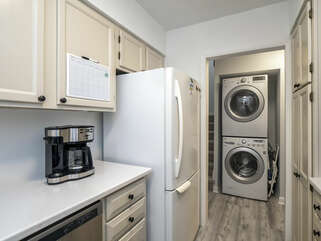 The laundry is just off the kitchen.