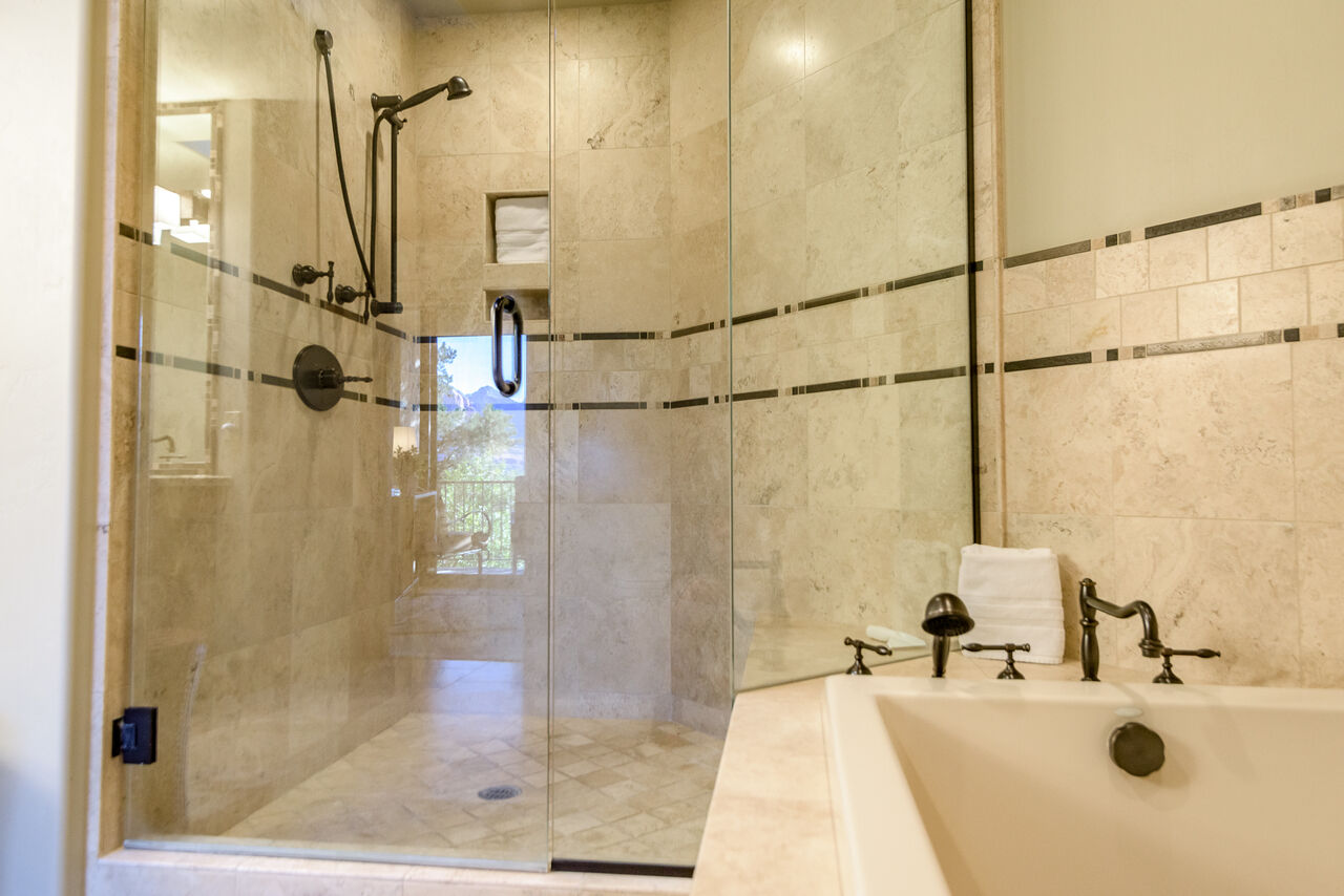 Tile/Glass Shower with Hand-Held and Rain Shower Heads