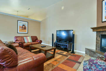 TV, Sofas, Coffee Table, and Fireplace.