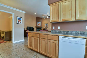 Dishwasher, Kitchen Counter, and Cabinets in Our Moab Condo for Rent.