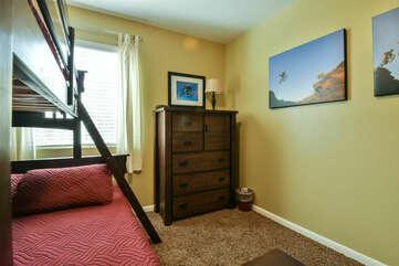 Bunker Bed, Dresser, and Window.