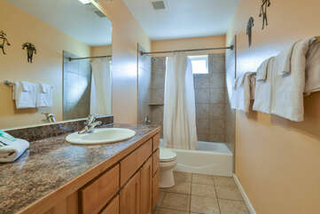Single Vanity Sink, Mirror, Shower-Tub Combo, and Toilet.