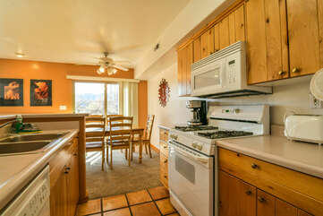 kitchen with the dining area