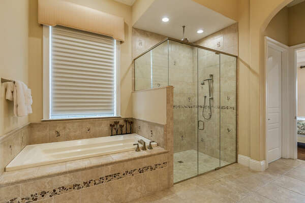 Garden tub and walk-in shower