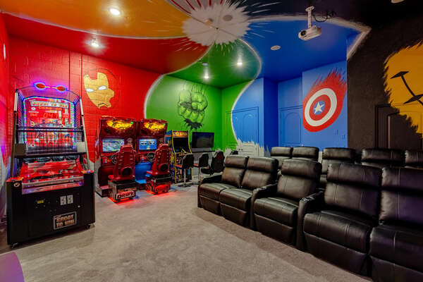 Battle your family or friends on the side by side racer, pop-a-shot basketball arcade or on the multi arcade game