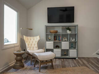 The perfect reading nook is here, along with the large HDTV.