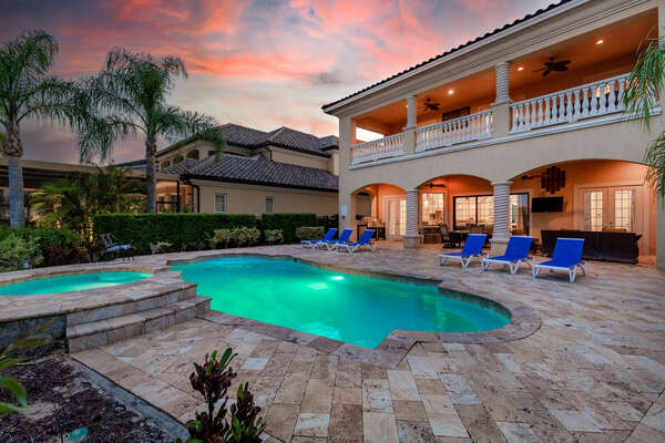 Relax poolside day or night