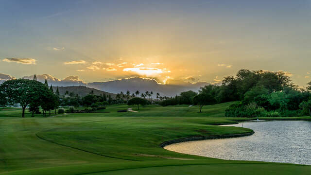 An Oahu Sunrise Looking Out Over the Golf Course