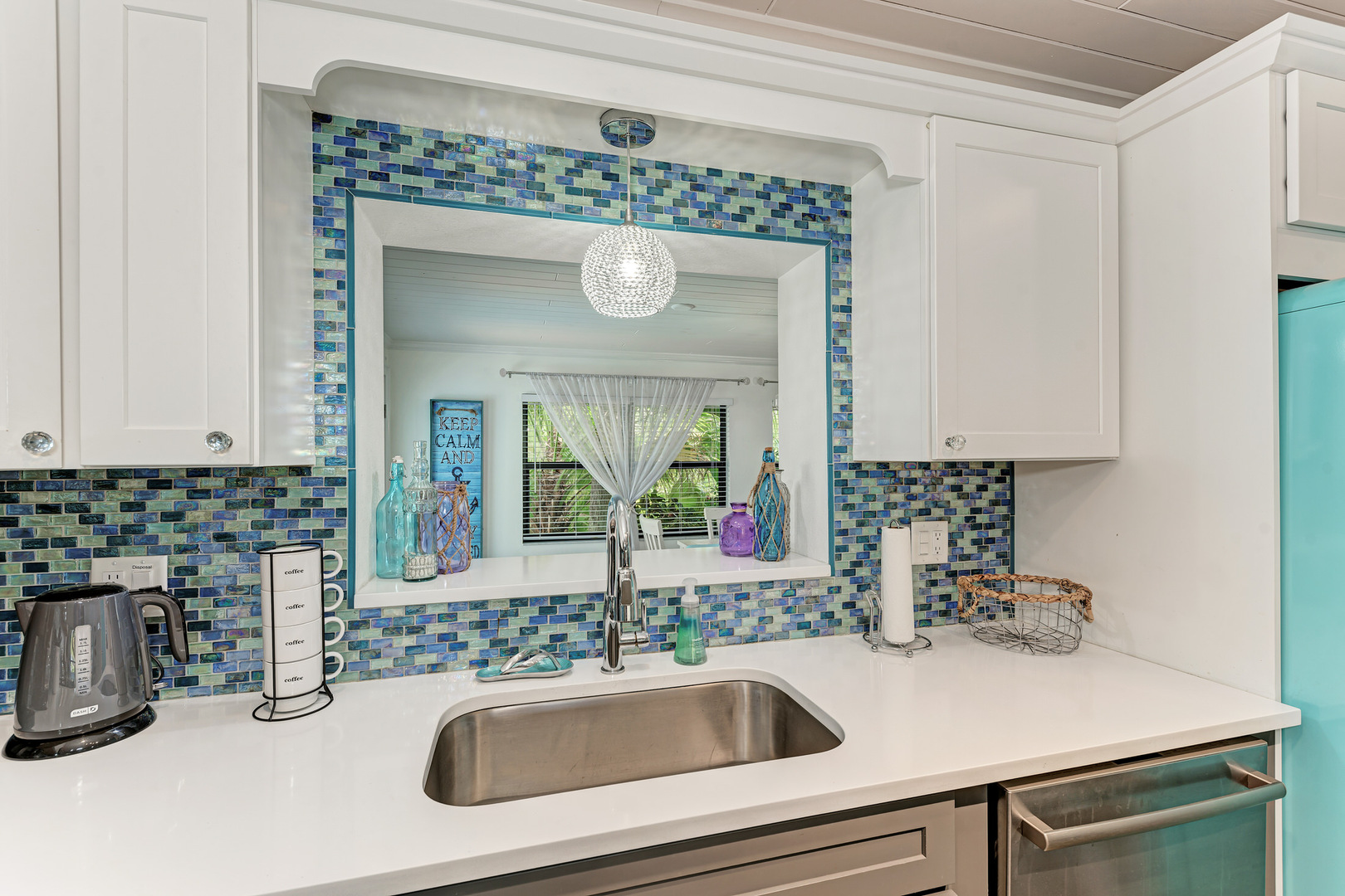 Barefoot Bungalow kitchen sink with passthrough
