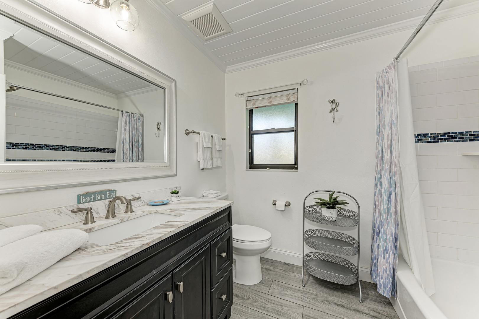 Barefoot Bungalow guest bathroom view from doorway