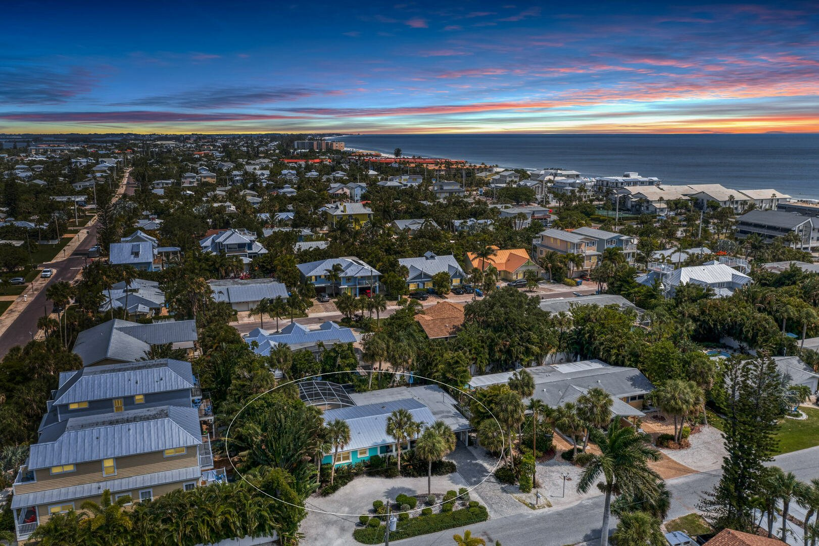 Barefoot Bungalow aerial view from North during sunset