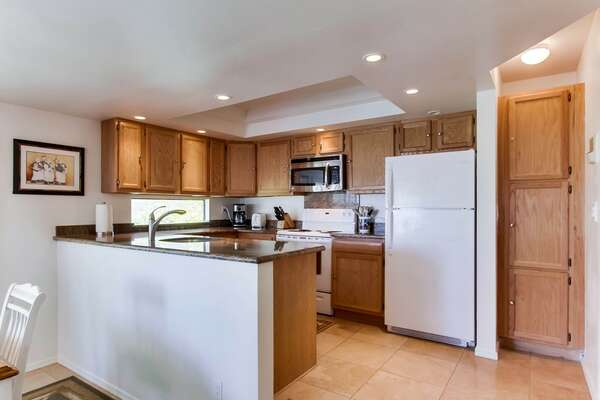Open kitchen fully equipped with refrigerator, freezer, oven, stove, microwave, dishwasher, sink and ample storage space