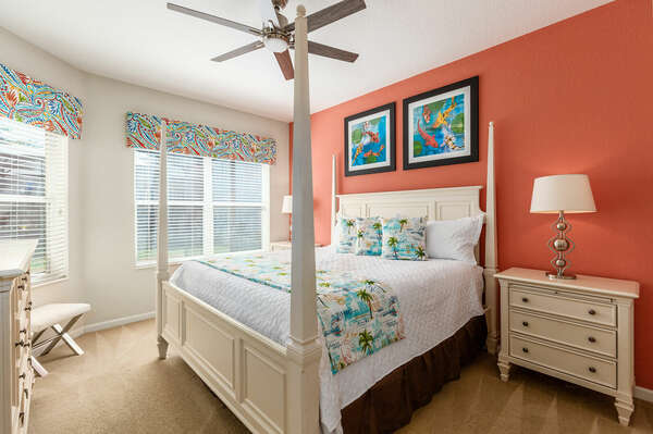 This Master Suite comes furnished with a king-size bed