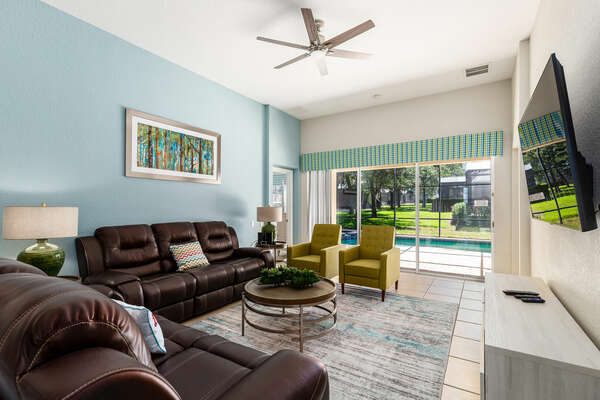 Sit back and relax in the living room with friends and family
