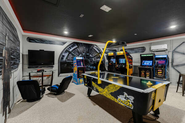 Transport into the galaxy arcade for hours of fun