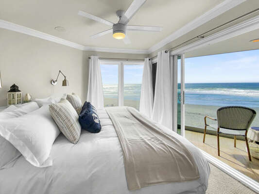 Master Bedroom with King Bed, Ocean Views and Private Balcony