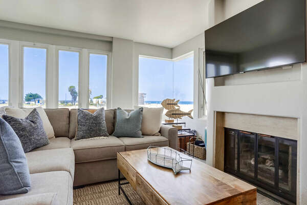 Living Room with Fireplace, Smart TV and Ocean Views - Second Floor
