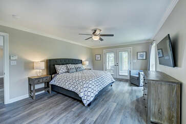 Main level - Master bedroom - king bed, full attached bath.