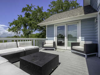 Deck off the living room area and master bedroom