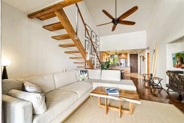 Open Floor Plan with Comfy Couch at Kona Country Club Villa